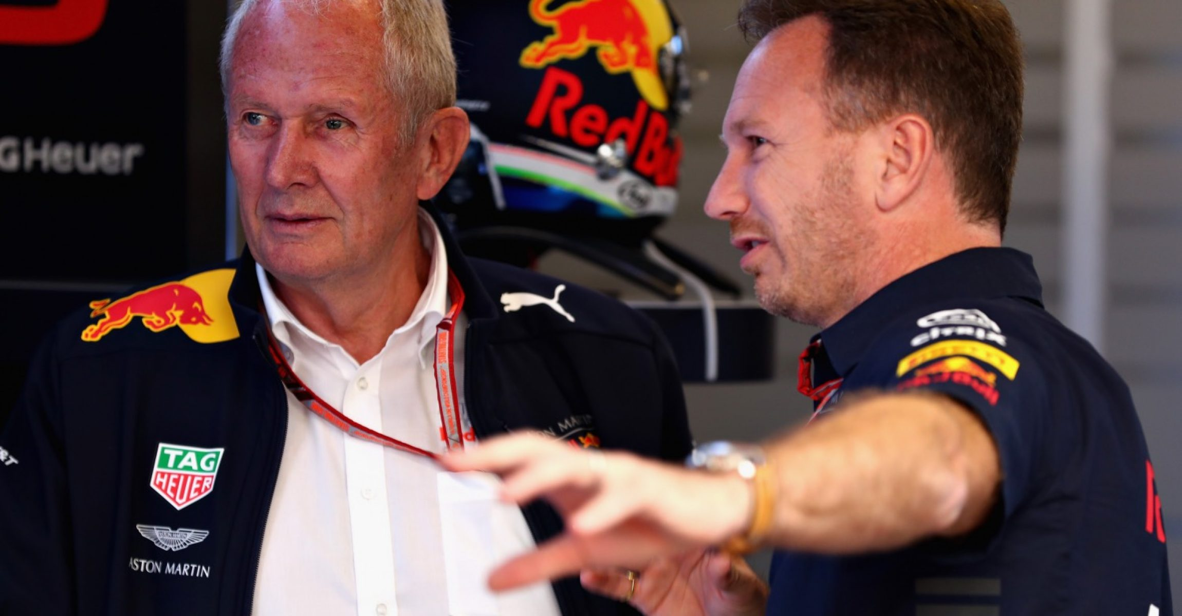 MONTMELO, SPAIN - MAY 12: Red Bull Racing Team Principal Christian Horner talks with Red Bull Racing Team Consultant Dr Helmut Marko in the garage during final practice for the Spanish Formula One Grand Prix at Circuit de Catalunya on May 12, 2018 in Montmelo, Spain.  (Photo by Mark Thompson/Getty Images)