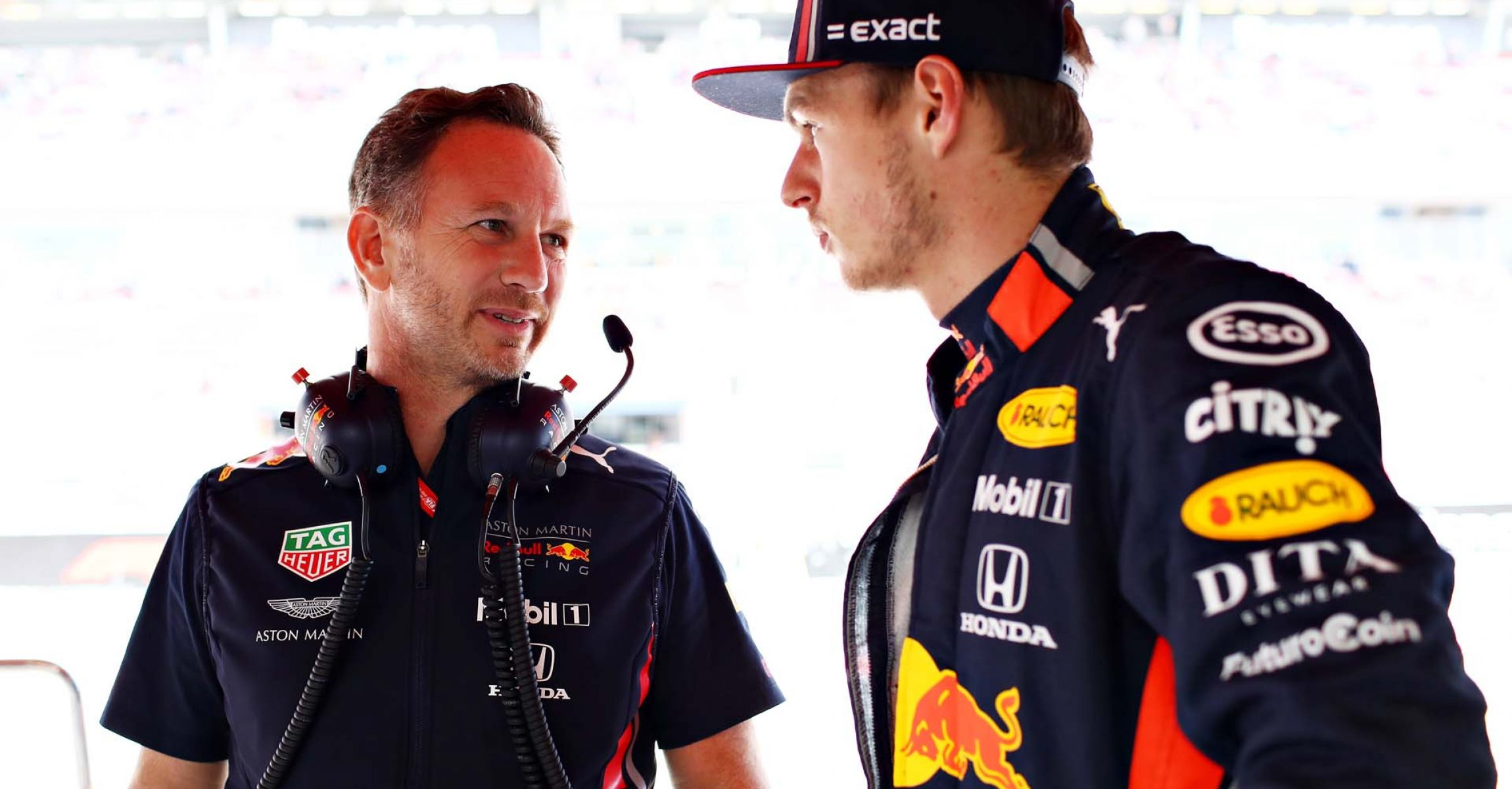BARCELONA, SPAIN - MAY 11: Red Bull Racing Team Principal Christian Horner talks with Max Verstappen of Netherlands and Red Bull Racing in the garage before qualifying for the F1 Grand Prix of Spain at Circuit de Barcelona-Catalunya on May 11, 2019 in Barcelona, Spain. (Photo by Mark Thompson/Getty Images) // Getty Images / Red Bull Content Pool // AP-1ZA5WB4UD1W11 // Usage for editorial use only // Please go to www.redbullcontentpool.com for further information. //