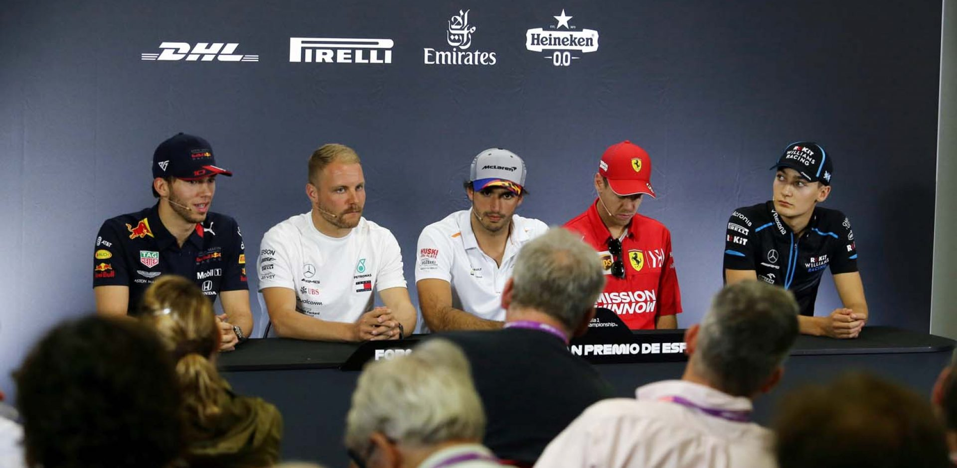 The FIA Press Conference (L to R): Pierre Gasly (FRA) Red Bull Racing; Valtteri Bottas (FIN) Mercedes AMG F1; Carlos Sainz Jr (ESP) McLaren; Sebastian Vettel (GER) Ferrari; George Russell (GBR) Williams Racing. Spanish Grand Prix, Thursday 9th May 2019. Barcelona, Spain.