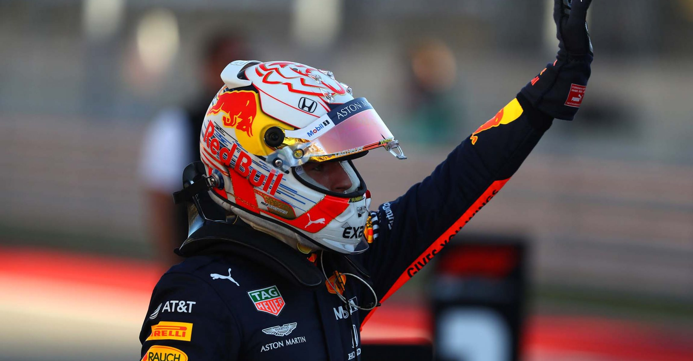 AUSTIN, TEXAS - NOVEMBER 02: Third place qualifier Max Verstappen of Netherlands and Red Bull Racing celebrates in parc ferme during qualifying for the F1 Grand Prix of USA at Circuit of The Americas on November 02, 2019 in Austin, Texas. (Photo by Mark Thompson/Getty Images) // Getty Images / Red Bull Content Pool // AP-222MFUWXH1W11 // Usage for editorial use only //