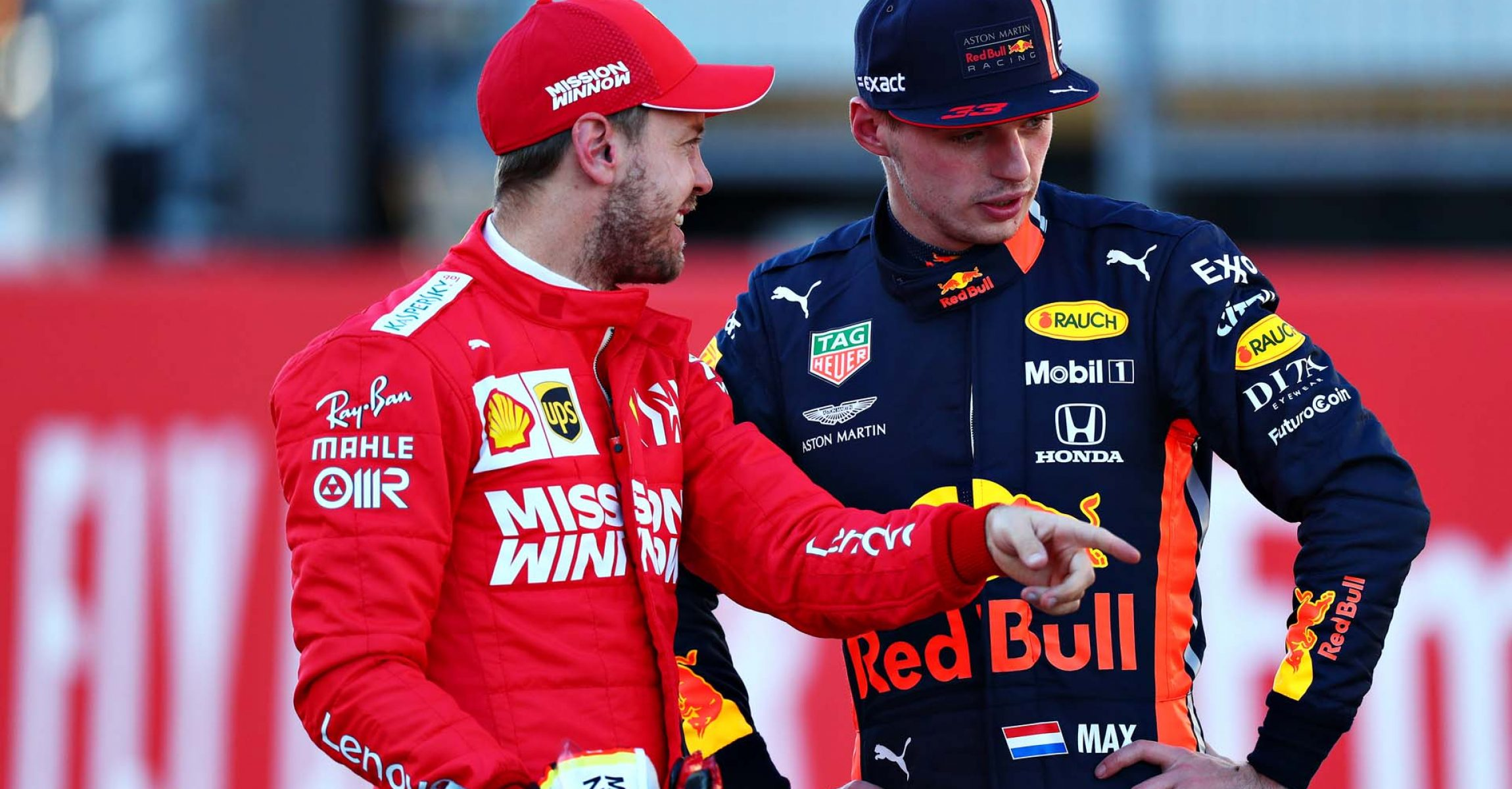 AUSTIN, TEXAS - NOVEMBER 02: Second place qualifier Sebastian Vettel of Germany and Ferrari talks with third place qualifier Max Verstappen of Netherlands and Red Bull Racing in parc ferme during qualifying for the F1 Grand Prix of USA at Circuit of The Americas on November 02, 2019 in Austin, Texas. (Photo by Dan Istitene/Getty Images) // Getty Images / Red Bull Content Pool  // AP-222MSWZFW2111 // Usage for editorial use only //