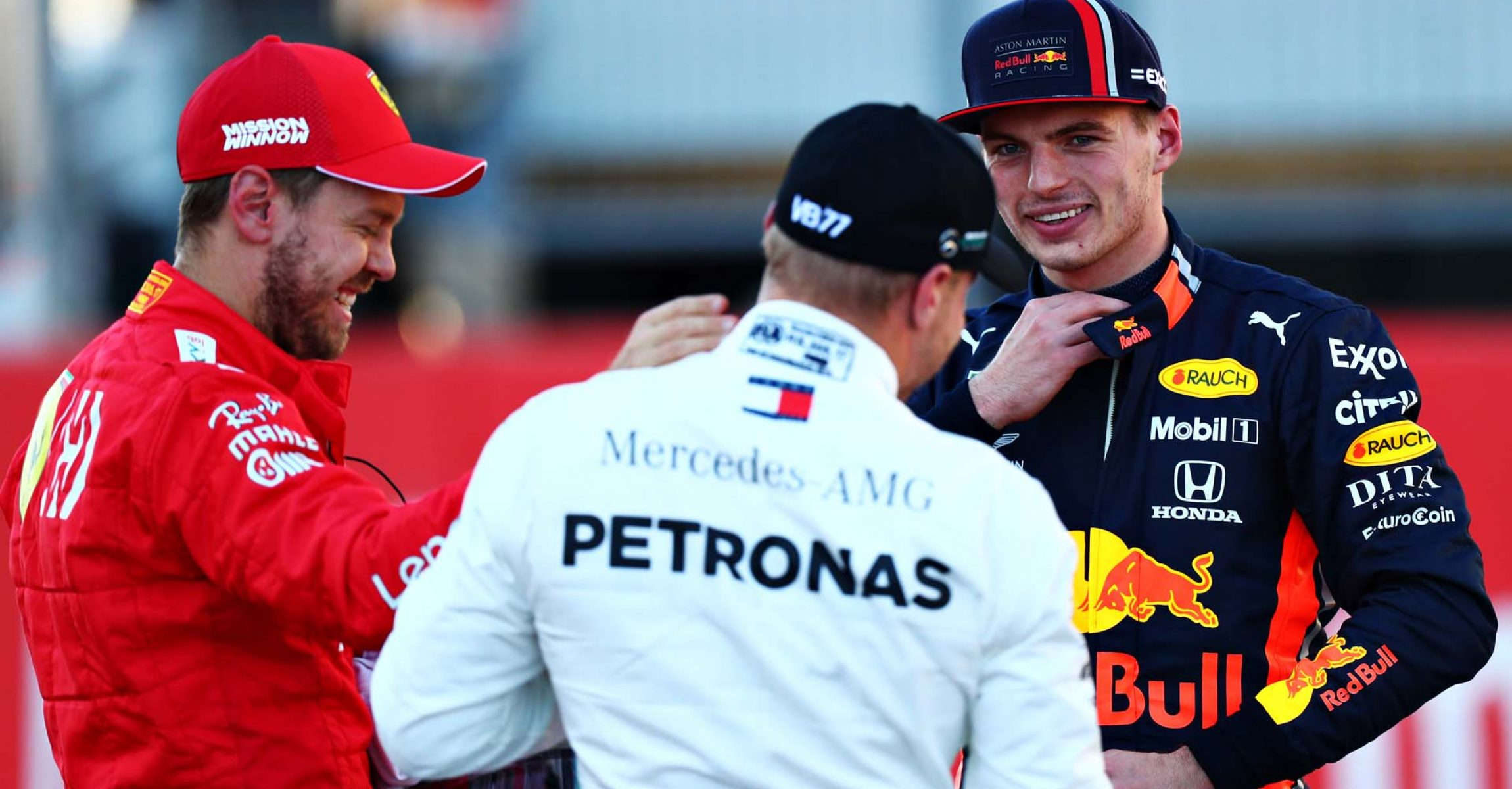 AUSTIN, TEXAS - NOVEMBER 02: Top three qualifiers Valtteri Bottas of Finland and Mercedes GP, Sebastian Vettel of Germany and Ferrari and Max Verstappen of Netherlands and Red Bull Racing celebrate in parc ferme during qualifying for the F1 Grand Prix of USA at Circuit of The Americas on November 02, 2019 in Austin, Texas. (Photo by Dan Istitene/Getty Images) // Getty Images / Red Bull Content Pool // AP-222MSXHK92111 // Usage for editorial use only //