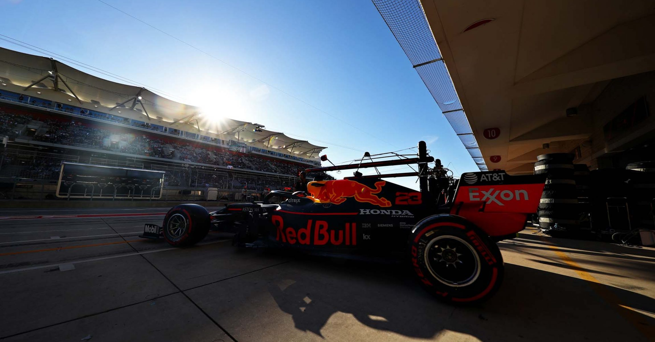 AUSTIN, TEXAS - NOVEMBER 02: Alexander Albon of Thailand driving the (23) Aston Martin Red Bull Racing RB15 leaves the garage during qualifying for the F1 Grand Prix of USA at Circuit of The Americas on November 02, 2019 in Austin, Texas. (Photo by Mark Thompson/Getty Images) // Getty Images / Red Bull Content Pool // AP-222N91RSN1W11 // Usage for editorial use only //