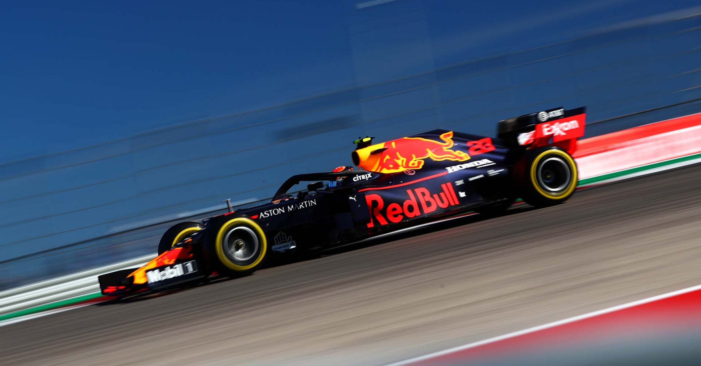 AUSTIN, TEXAS - NOVEMBER 03: Alexander Albon of Thailand driving the (23) Aston Martin Red Bull Racing RB15 on track during the F1 Grand Prix of USA at Circuit of The Americas on November 03, 2019 in Austin, Texas. (Photo by Dan Istitene/Getty Images) // Getty Images / Red Bull Content Pool // AP-222Y7MM6H2111 // Usage for editorial use only //