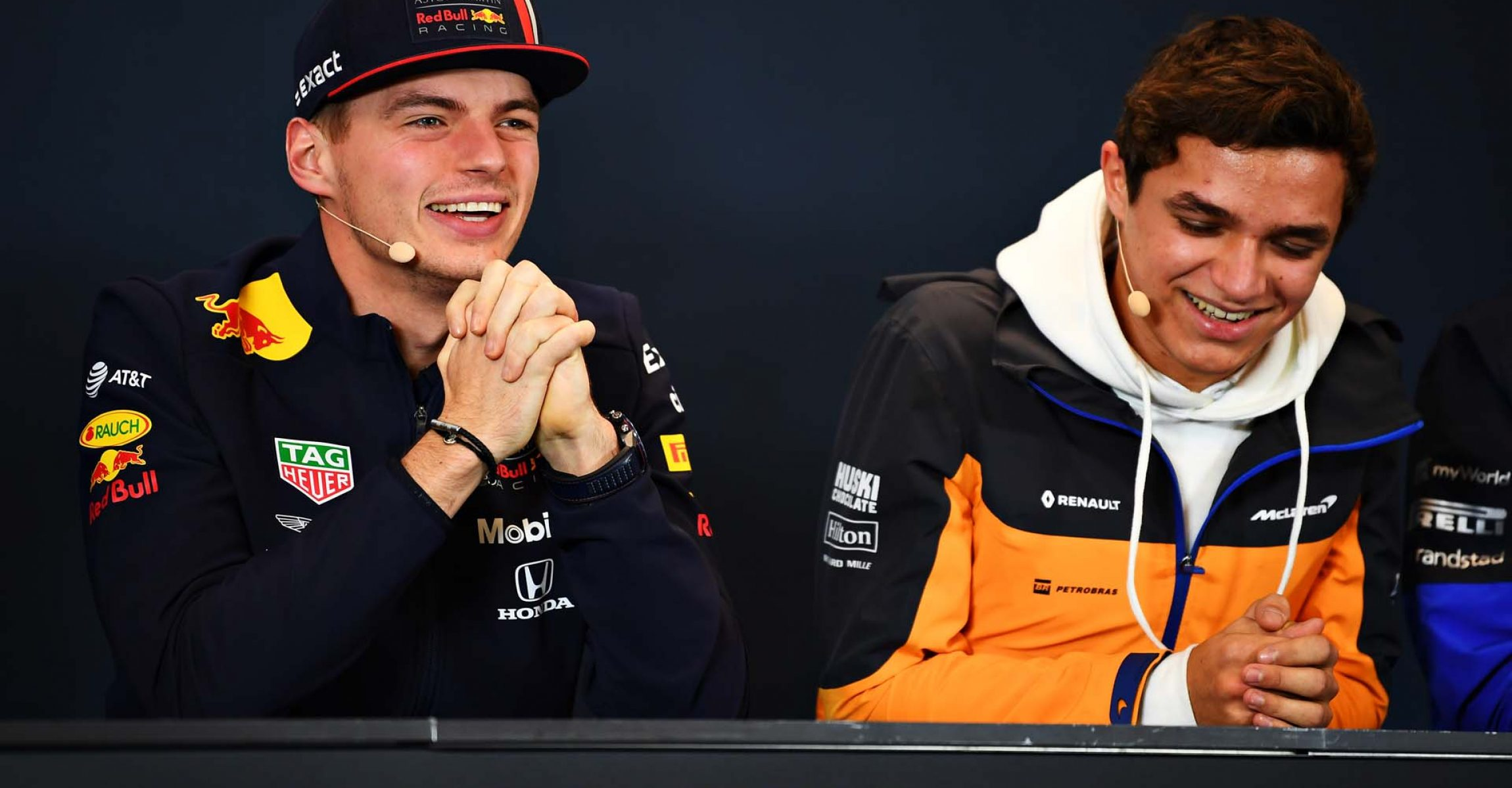 AUSTIN, TEXAS - OCTOBER 31: Max Verstappen of Netherlands and Red Bull Racing talks in the Drivers Press Conference with Lando Norris of Great Britain and McLaren F1 during previews ahead of the F1 Grand Prix of USA at Circuit of The Americas on October 31, 2019 in Austin, Texas. (Photo by Clive Mason/Getty Images) // Getty Images / Red Bull Content Pool // AP-221XYU3GW1W11 // Usage for editorial use only //