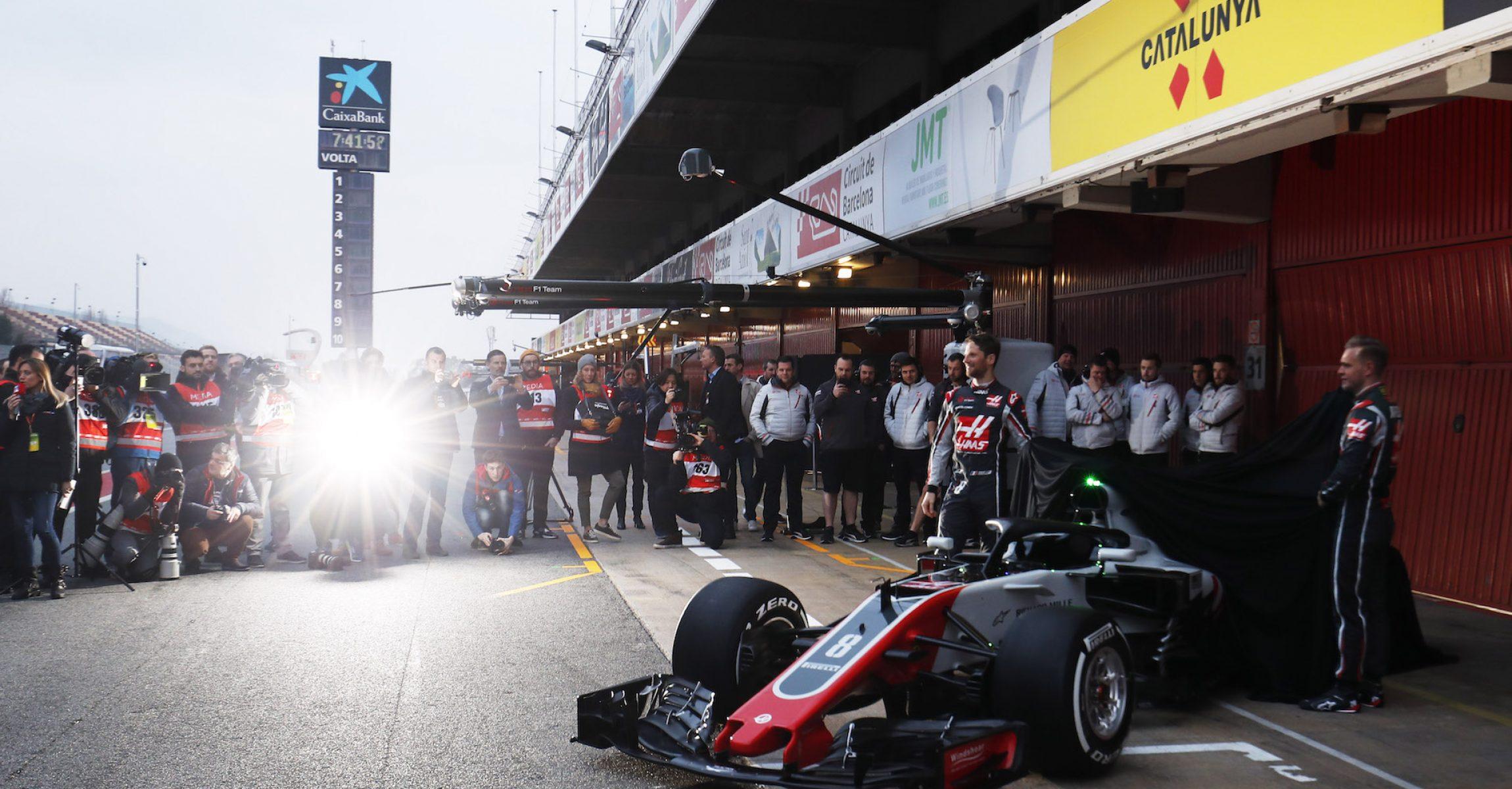 Circuit de Catalunya, Barcelona, Spain. Monday 26 February 2018. World Copyright: Zak Mauger/LAT Images ref: Digital Image _54I4932, Haas launch, Romain Grosjean, Kevin Magnussen