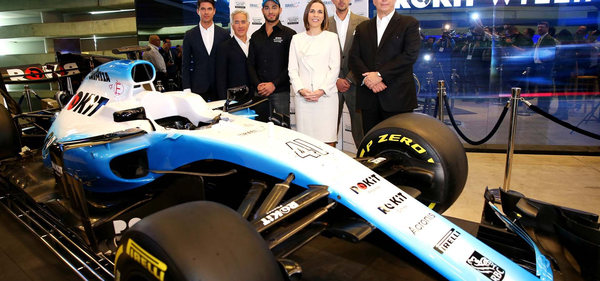 Gyarfas Olah, Roy Nissany Manager with  Sylvan Adams, President of Roy Nissany F1 Management,  Roy Nissany, Offical Williams Racing Test Driver, Claire Williams, Williams Racing Deputy Team Principal, Marc Harris, Williams Racing Young Driver Academy and Nehemia Peres. Roy Nissany Official Test Driver Announcement, Wednesday 15th January 2020. Tel Aviv, Israel