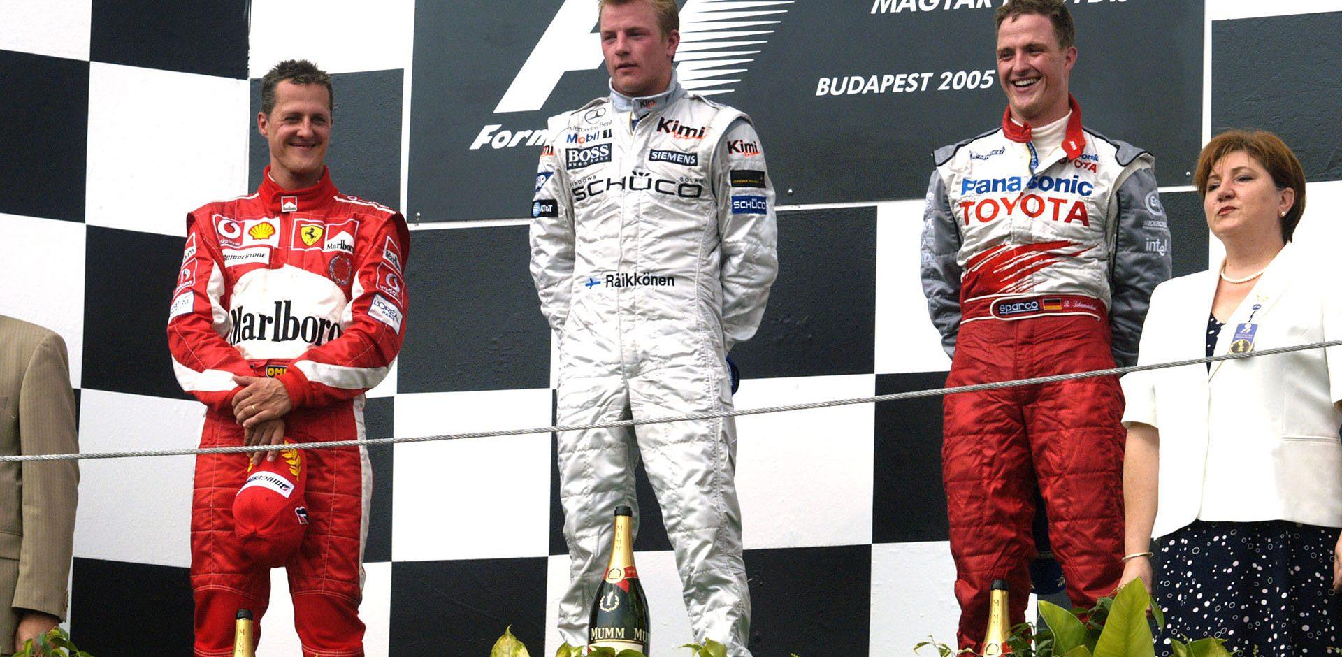 Kimi Räikkönen, Michael Schumacher, Ralf Schumacher, Hungarian Grand Prix 2005