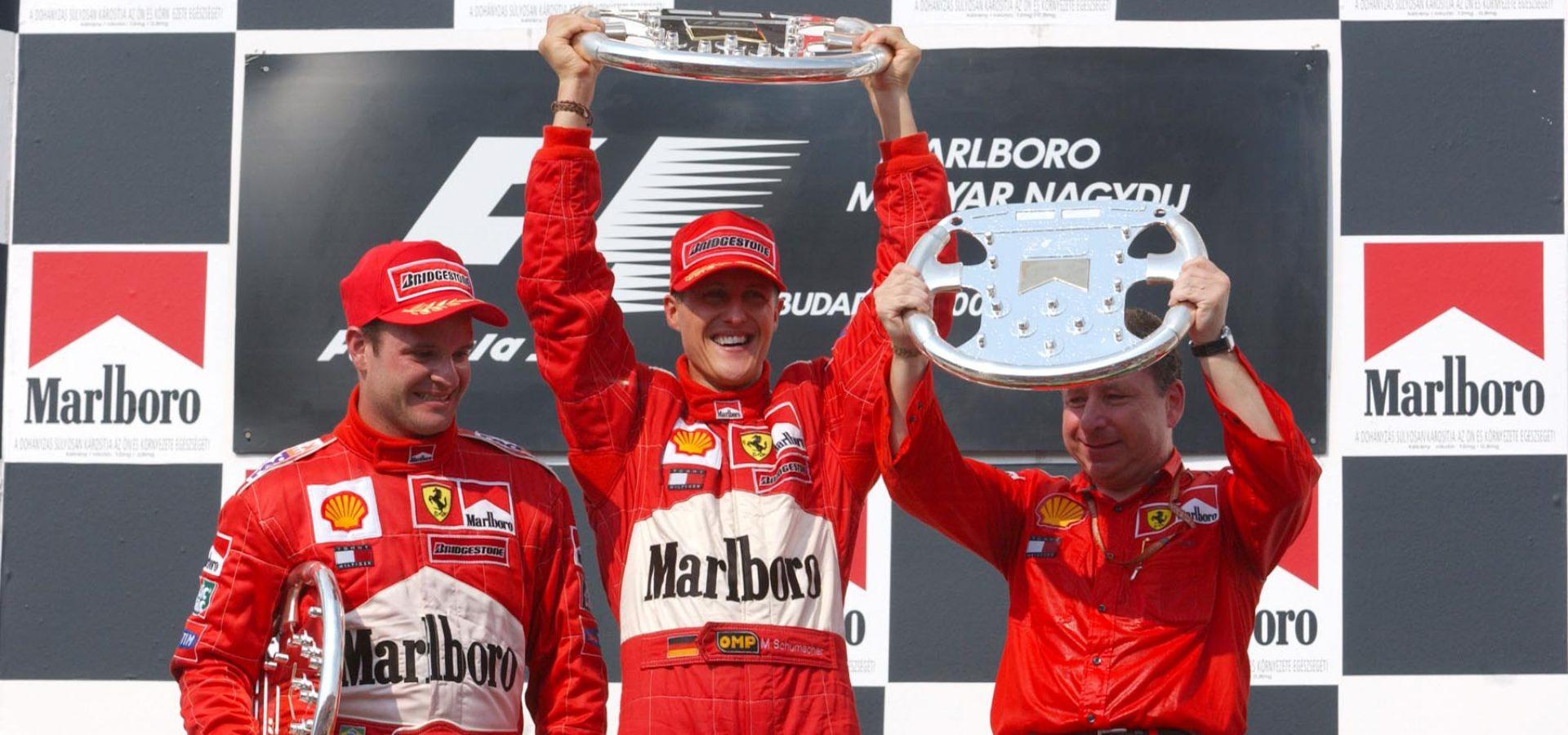 Rubens Barrichello, Michael Schumacher, Ferrari, 2001, Jean Todt, world champions, title, Hungarian GP, Mogyoród, Hungaroring