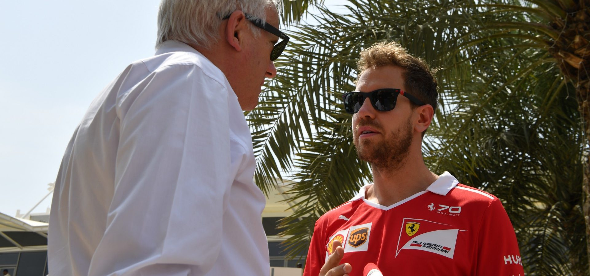 Sebastian Vettel (GER) Ferrari with Charlie Whiting (GBR) FIA Delegate at Formula One World Championship, Rd3, Bahrain Grand Prix Preparations, Bahrain International Circuit, Sakhir, Bahrain, Thursday 13 April 2017.