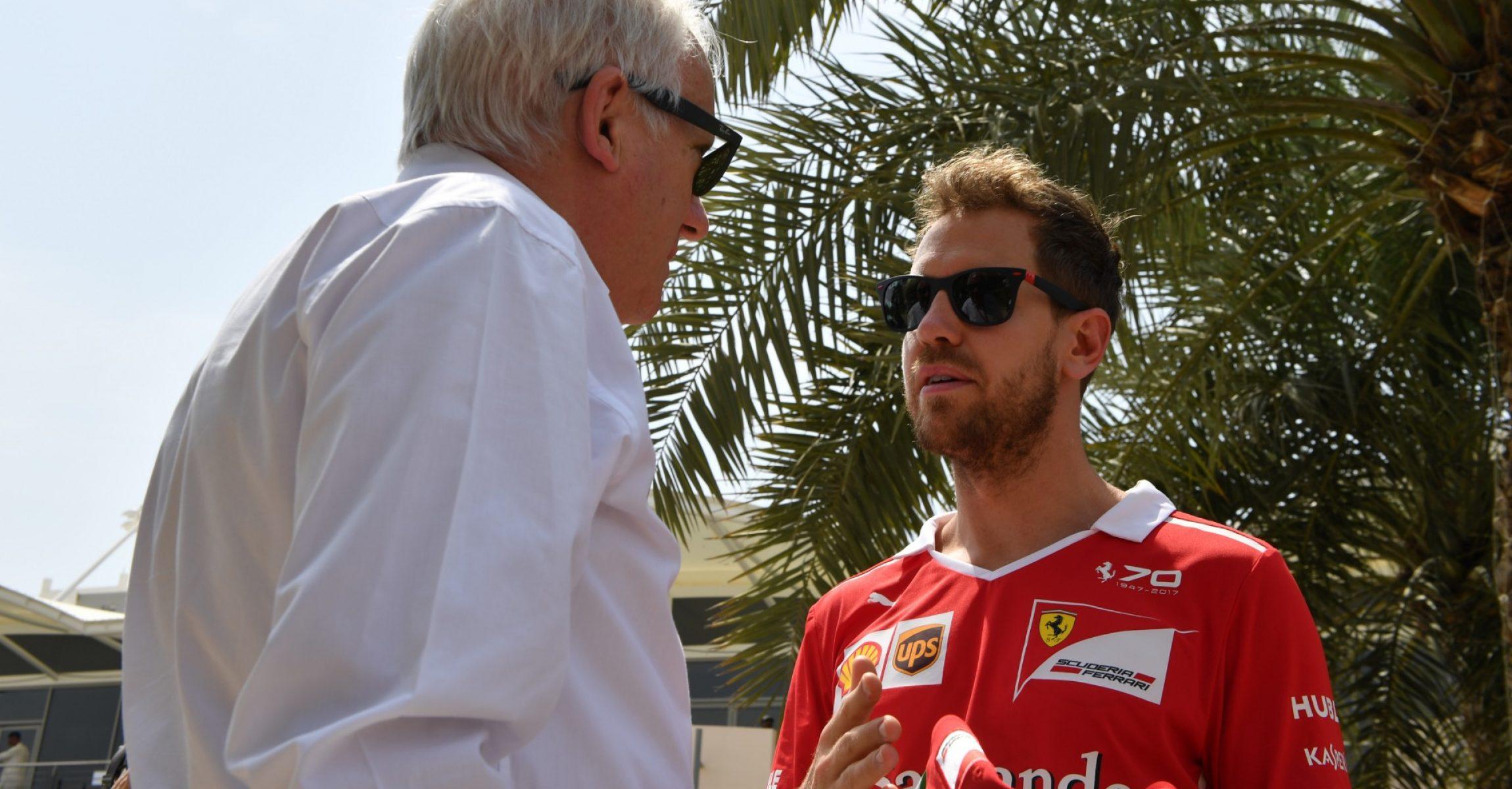 Sebastian Vettel (GER) Ferrari with Charlie Whiting (GBR) FIA Delegate at Formula One World Championship, Rd3, Bahrain Grand Prix Preparations, Bahrain International Circuit, Sakhir, Bahrain, Thursday 13 April 2017.