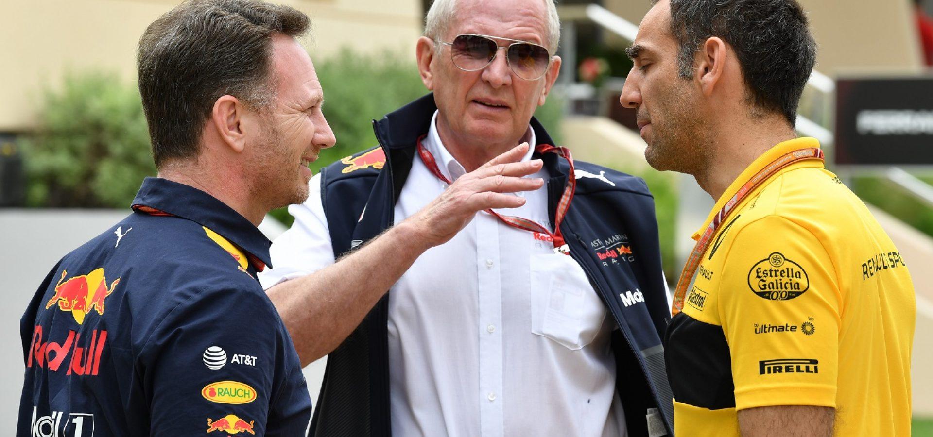 Christian Horner (GBR) Red Bull Racing Team Principal, Dr Helmut Marko (AUT) Red Bull Motorsport Consultant and Cyril Abiteboul (FRA) Renault Sport F1 Managing Director at Formula One World Championship, Rd2, Bahrain Grand Prix, Practice, Bahrain International Circuit, Sakhir, Bahrain, Friday 6 April 2018.