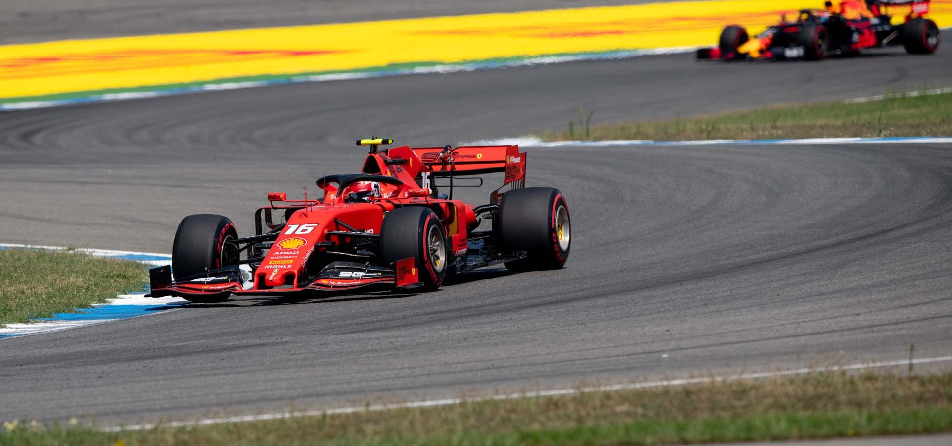 HOCKENHEIMRING, GERMANY - JULY 26: Charles Leclerc, Ferrari SF90, leads Pierre Gasly, Red Bull Racing RB15 during the German GP at Hockenheimring on July 26, 2019 in Hockenheimring, Germany. (Photo by Jerry Andre / LAT Images)