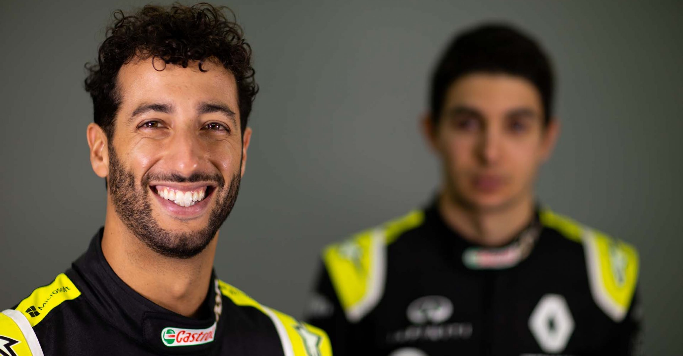 Daniel Ricciardo (AUS) Renault F1 Team with team mate Esteban Ocon (FRA) Renault F1 Team. Renault F1 Team Season Opener, Wednesday 12th February 2020. L'Atelier Renault, Paris, France.