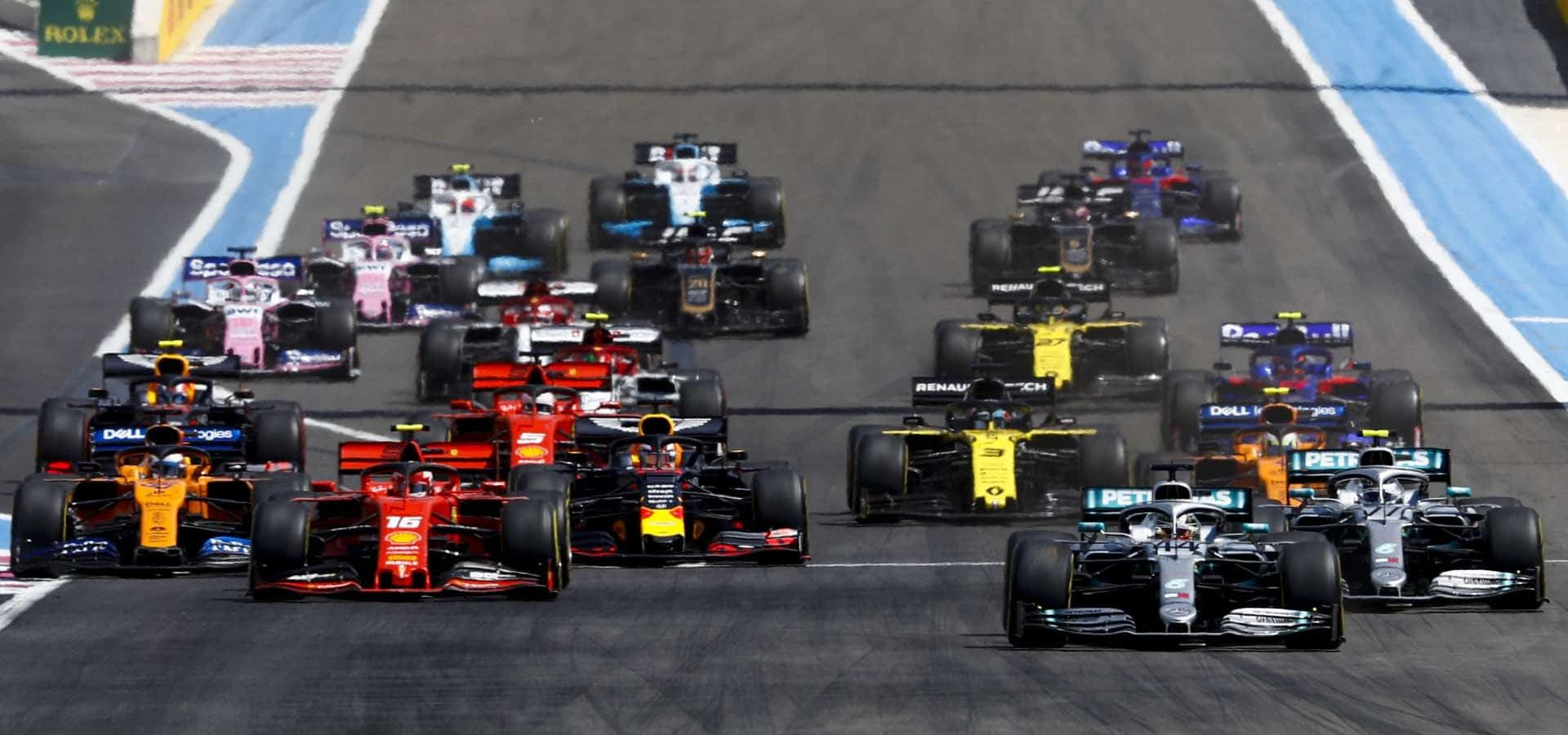 CIRCUIT PAUL RICARD, FRANCE - JUNE 23: Lewis Hamilton, Mercedes AMG F1 W10 leads Valtteri Bottas, Mercedes AMG W10 and Charles Leclerc, Ferrari SF90 at the start of the race during the French GP at Circuit Paul Ricard on June 23, 2019 in Circuit Paul Ricard, France. (Photo by Glenn Dunbar / LAT Images)