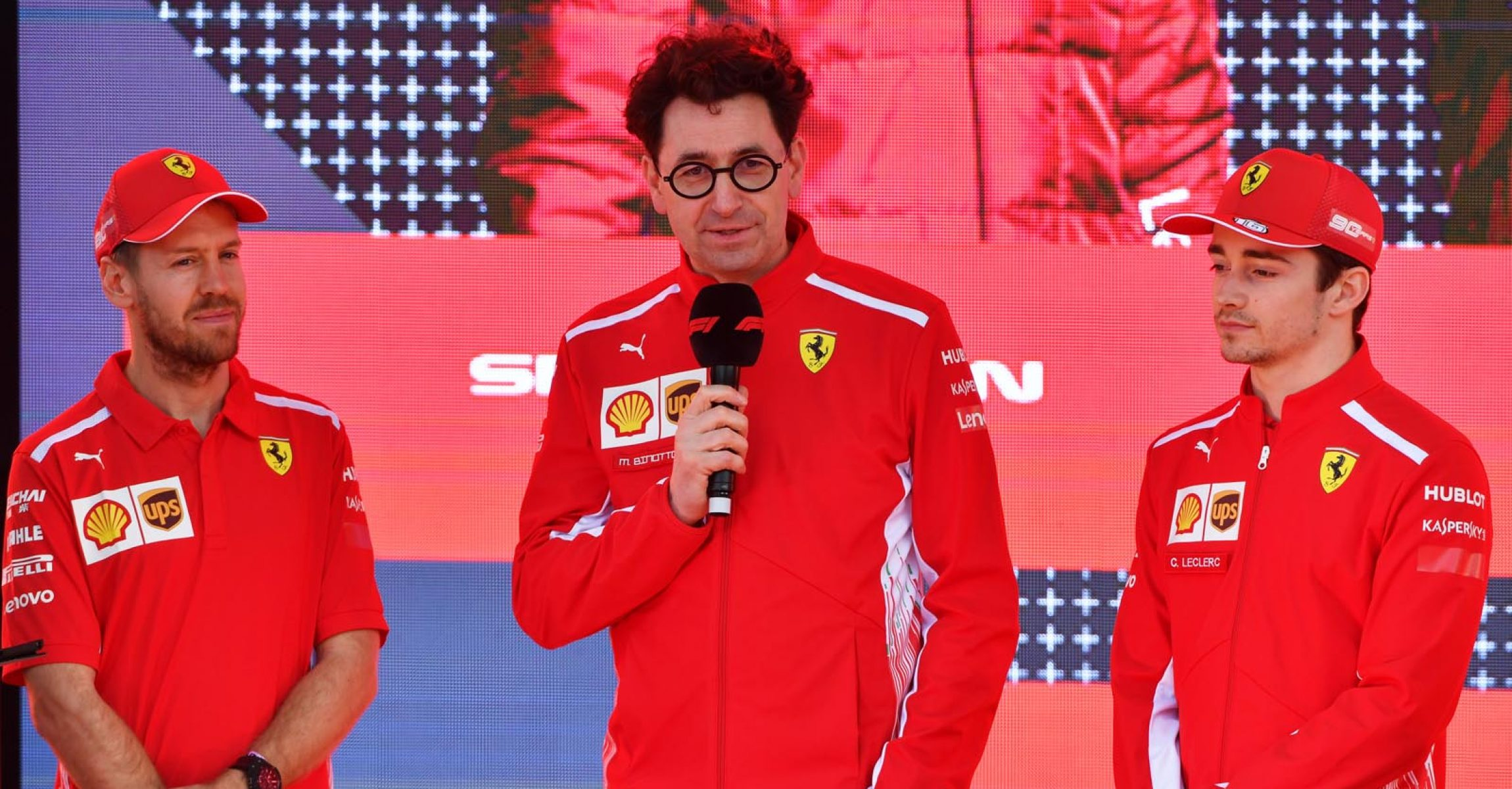 MELBOURNE GRAND PRIX CIRCUIT, AUSTRALIA - MARCH 13: Sebastian Vettel, Ferrari, Mattia Binotto, Team Principal Ferrari, and Charles Leclerc, Ferrari, at the Federation Square event during the Australian GP at Melbourne Grand Prix Circuit on March 13, 2019 in Melbourne Grand Prix Circuit, Australia. (Photo by Mark Sutton / Sutton Images)